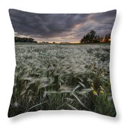 A Summer Sunrise With Storm Clouds Throw Pillow