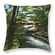 A Summer Walk Along The Creek  Throw Pillow