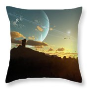 A Sunset On A Forested Moon Which Throw Pillow