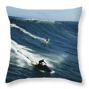 A Surfer And Jet-skier Off The North Throw Pillow