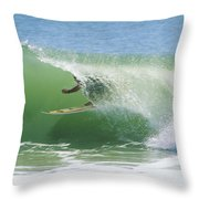 A Surfer Shoots The Curl Throw Pillow