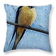 A Swallow On A Wire Throw Pillow