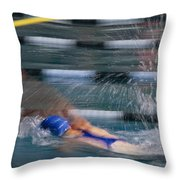 A Swimmer Races Through The Water Throw Pillow