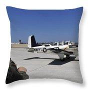 A T-35c Training Aircraft Prepars Throw Pillow