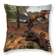 A T-rex Comes Across The Carcass Throw Pillow