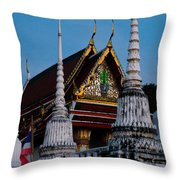 A Temple In A Wat Monestry In Tahiland Throw Pillow