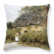 A Thatched Cottage Near Peaslake Surrey Throw Pillow