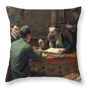 A Theological Debate Throw Pillow by Eduard Frankfort