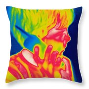 A Thermogram Of A Boy Talking Throw Pillow