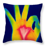 A Thermogram Of A Hand Giving The Ok Throw Pillow by Ted Kinsman