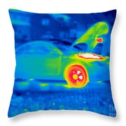 A Thermogram Of A Man Working On A Car Throw Pillow