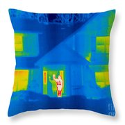 A Thermogram Of A Person Waving In House Throw Pillow
