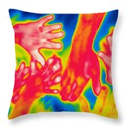 A Thermogram Of A Pile Of Human Hands Throw Pillow
