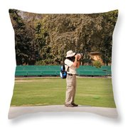 A Tourist Using A High Powered Camera Inside The Red Court In New Delhi Throw Pillow