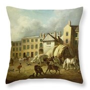 A Town Scene  Throw Pillow