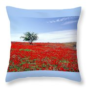 A Tree In A Red Sea Throw Pillow