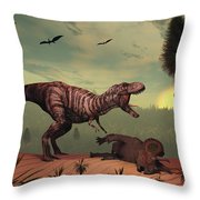A Triceratops Falls Victim Throw Pillow