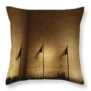 A Twilight View Of American Flags Throw Pillow