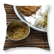 A Typical Plate Of Indian Rajasthani Food On A Bamboo Table Throw Pillow