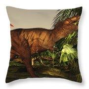 A Tyrannosaurus Rex Runs Throw Pillow by Corey Ford
