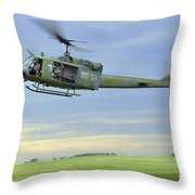 A Uh-1n Huey Helicopter Prepares Throw Pillow