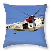 A Uh-3h Sea King Helicopter Flies Throw Pillow