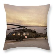 A Uh-60l Black Hawk Medevac Helicopter Throw Pillow