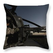 A Uh-60l Blackhawk Door Gunner Mans Throw Pillow