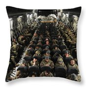 A Unit Of U.s. Army Soldiers In A C-17 Throw Pillow