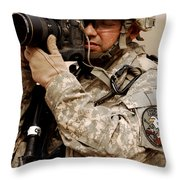 A U.s. Air Force Combat Cameraman Throw Pillow by Stocktrek Images