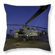 A U.s. Army Ah-64d Apache Helicopter Throw Pillow