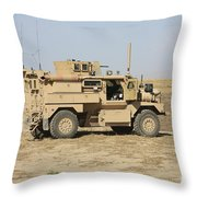 A U.s. Army Cougar Mrap Vehicle Throw Pillow