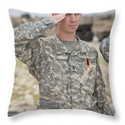 A U.s Army Soldier And Recipient Throw Pillow