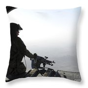 A U.s. Army Soldier Scans The Area Throw Pillow