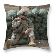 A U.s. Army Soldier Talks On A Radio Throw Pillow