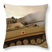 A U.s. Army Soldier Trains On An M113 Throw Pillow