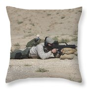 A U.s. Contractor Sights In A German Throw Pillow