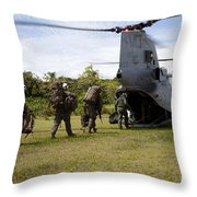 A U.s. Marine Corps Ch-46e Sea Knight Throw Pillow