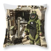 A U.s. Marine Dressed In A Bomb Suit Throw Pillow