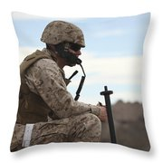 A U.s. Marine Uses A Field Phone Throw Pillow