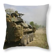 A U.s. Marine Uses An M-240b Machine Throw Pillow by Stocktrek Images