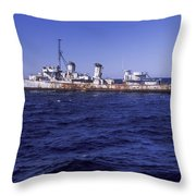 A U.s. Navy Deactivated Ship Sits Ready Throw Pillow