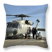 A U.s. Navy Sh-60b Seahawk Helicopter Throw Pillow