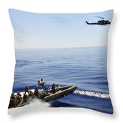 A U.s. Navy Uh-1n Huey Helicopter Throw Pillow