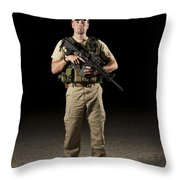 A U.s. Police Officer Contractor Throw Pillow