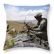 A U.s. Soldier Sets Up A Portable Throw Pillow