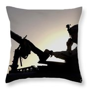 A U.s. Soldier Talks On A Hand Mike Throw Pillow by Stocktrek Images