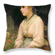 A Venetian Flower Girl Throw Pillow