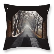 A View Down A Tree-lined Road Throw Pillow