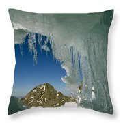 A View Of A Mountain Summit Throw Pillow